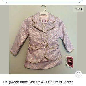Hollywood Babe Girls Sz 4 Outfit Dress Jacket.